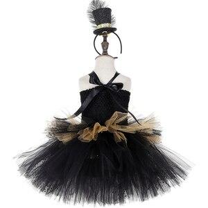Image 4 - Черно Золотое Платье пачка в стиле цирковых колец, Детские великолепные костюмы Showman для девочек, платье для Хэллоуина, карнавала, дня рождения