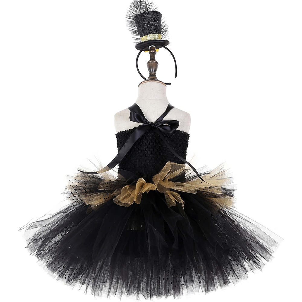Image 4 - Black and Gold Circus Ringmaster Tutu Dress Kids Greatest Showman Costumes Girls Halloween Carnival Birthday Party Dress 1 14YDresses   -
