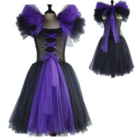 Kids Child Girls Maleficent Costume Carnival Halloween Fancy Dress Up Royal Cosplay Dress Up Costume For