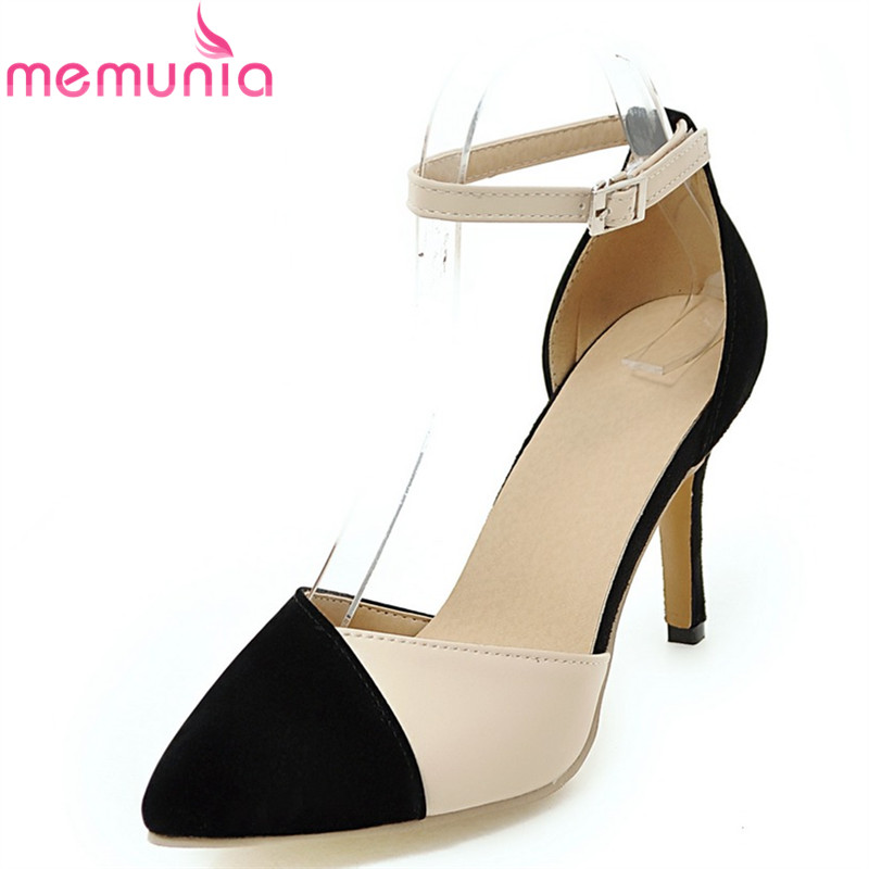 MEMUNIA flock pointed toe ladies summer high heels shoes fashion buckle Color mixing women pumps elegant lady prom shoes new 2017 spring summer women shoes pointed toe high quality brand fashion womens flats ladies plus size 41 sweet flock t179
