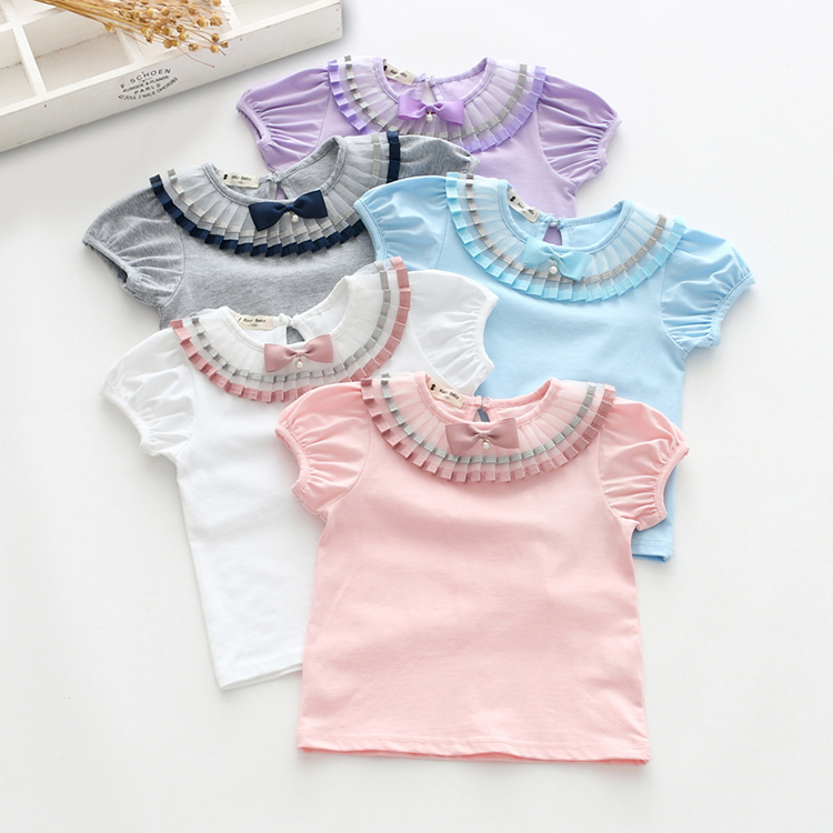 sinyuer cat Spring Girls T-Shirts Knitted Tops Pleated Bow Neck Sweater Little Girl summer Shirt Toddler T Shirts Kids Clothes