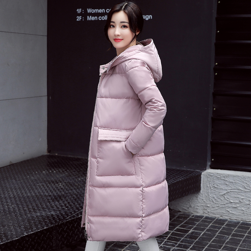 2017 hooded long warm casaco feminina solid color cotton padded winter jacket women female womens coat parka high quality цены онлайн