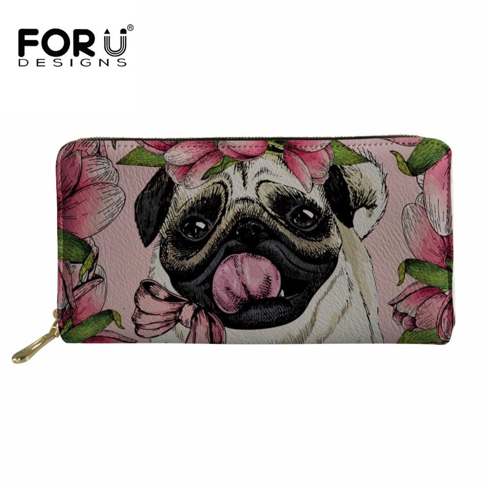 FORUDESIGNS Women Wallets Pug Dog Printed Long Money Bag Females Cute Coin Pocket Girl Card Holder Thin Zipper PU Leather Wallet