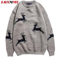 LONMMY 4XL Boże Narodzenie Deer projekt 87% Bawełna sweter z dzianiny swetry męskie sweter mężczyzn Para Moda Szczupła Dorywczo 2018 Zima