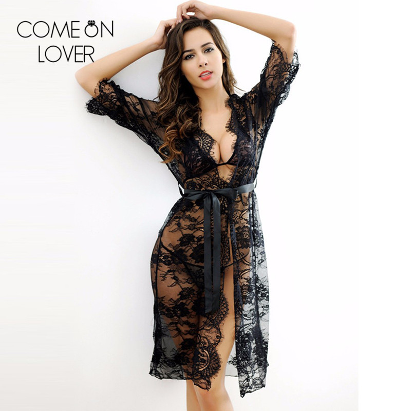 9e92beb22f8 Detail Feedback Questions about Comeonlover 3 pieces nightgown robe set  black see through sheer mesh lace robe chemise long sleeve sexy robe  sleepwear ...