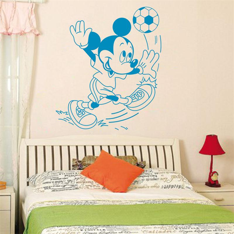 bule cute mickey mouse football vinyl mural wall sticker decals kids nursery room decoration stickers home