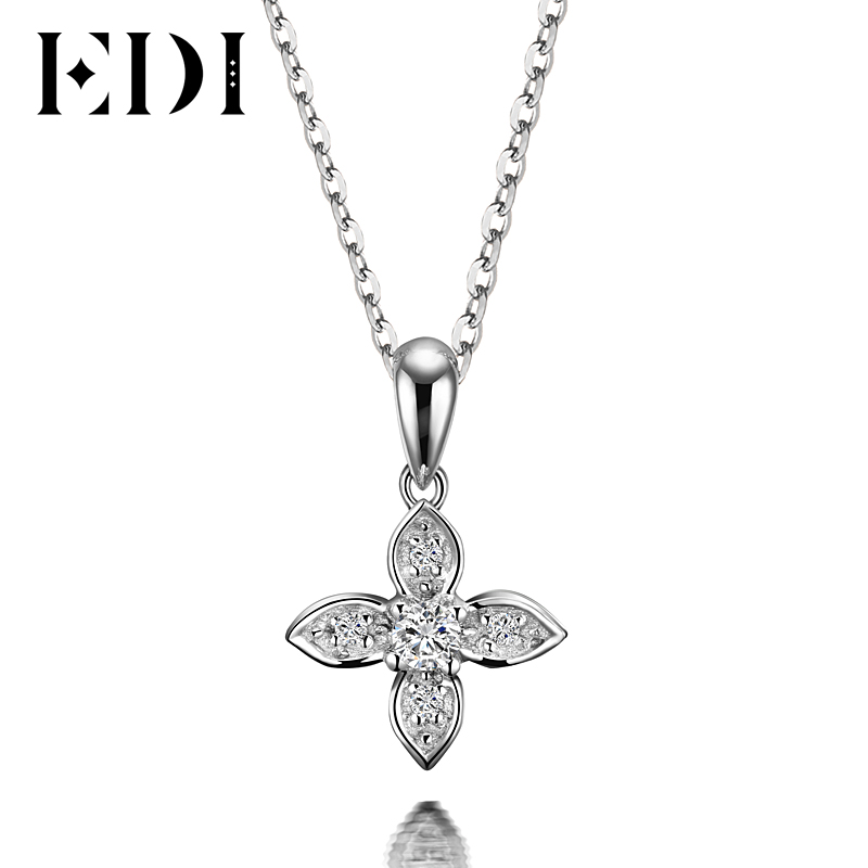 EDI Flower Star Natural Diamond H/SI Wedding Pendants For Women Soild 18K White Gold Fine Jewelry Pendant 16' Necklace Chain 18k 750 white gold pendant gh color round lab grown moissanite double heart necklace diamond pendant necklace for women jewelry