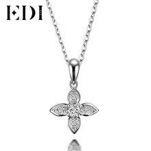 EDI Flower Star Natural Diamond H SI Wedding Pendants For Women Soild 18K White Gold Fine