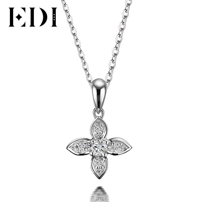 EDI Flower Star Natural font b Diamond b font H SI Wedding Pendants For Women Soild