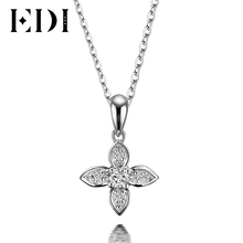 EDI Flower Star  Natural Diamond H/SI Wedding Pendants For Women Soild 18K White Gold Fine Jewelry Pendant 16′ Necklace Chain
