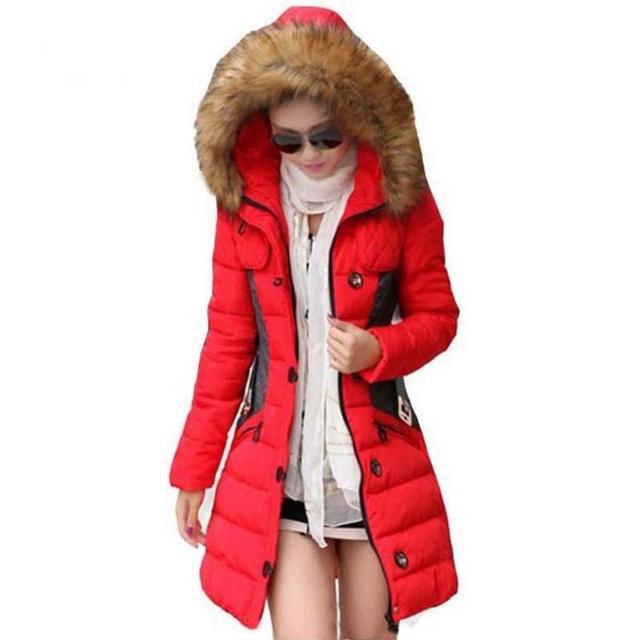 2016 Chaqueta de Invierno Mujeres Parka Cuello de Piel Engrosamiento de Algodón Acolchado Abrigo de Invierno Manteau Femme 1 UNID