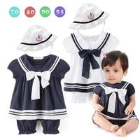 Summer New Baby Girls Navy Style Bow Rompers Short Sleeve Jumpsuits With Sunhat Toddler Clothes 0