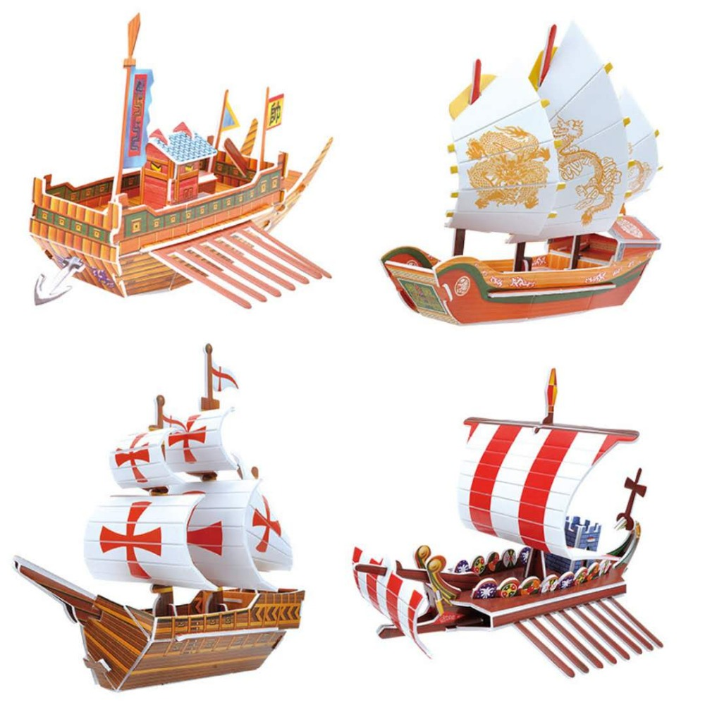 3D  Paper Jigsaw Puzzle Sailboat Paper Stereoscopic Model DIY  Puzzle Kids Learn Growth Game Puzzles A Gift For A Child