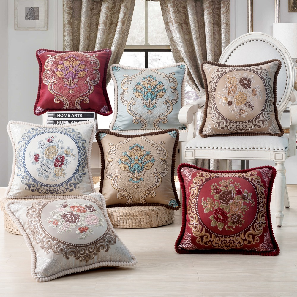 European Style Luxury Bed Decorative Throw Pillows r Home  Embroidery Pillow  Chair Decorative 45x45cm