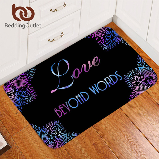 BeddingOutlet Flowers Bath Rugs Non Slip Boho Mandala Door Carpet Love  Beyond Words Door Mats Outdoor Purple Blue Tapete 50x80cm