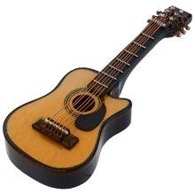 1:12 миниатюрный музыкальный инструмент для кукольного домика, акустическая гитара желтого и коричневого цвета