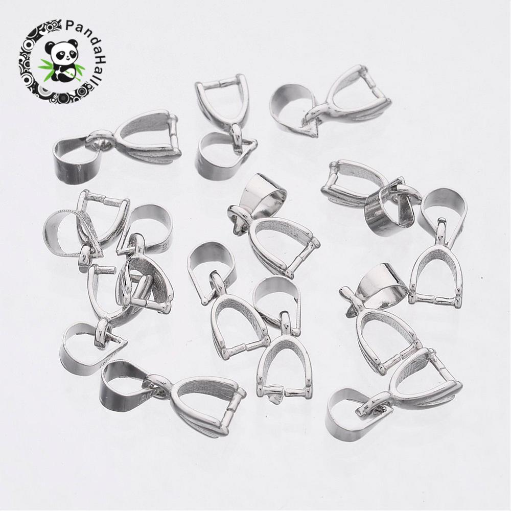 Laiton Ovale Ice Pick Pinch Bails ton argent 5 x 13 mm 10 pcs Findings Jewellery