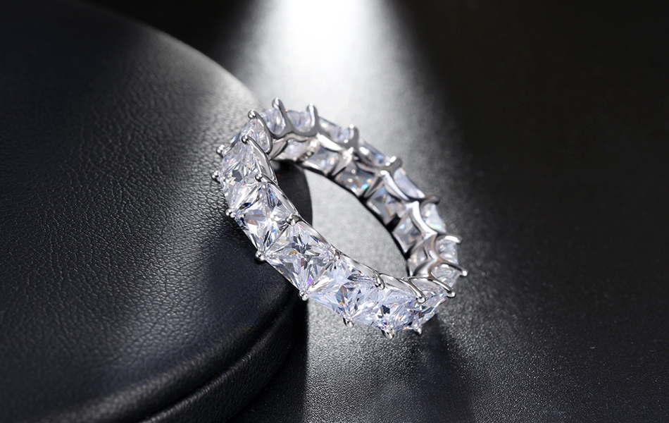 HTB1hFrmh2MTUeJjSZFKq6ygopXas ORSA JEWELS 100% Real 925 Sterling Silver Rings For Women Men Engagement & Wedding Band AAA CZ Trendy Party Jewelry SR48