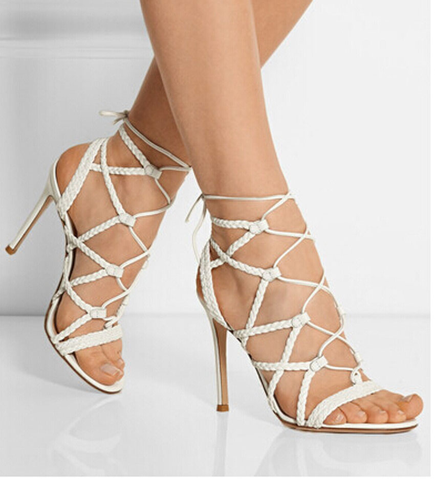 3802e15ec5398a New Design Braided Leather Cut-Outs High Heel Sandals Peep Toe Cross Strap  Ankle Lace Up Gladiator Sandals