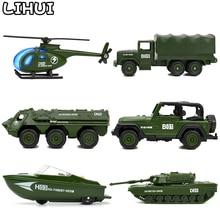 Mini vehículos militares fundidos en 6 estilos, aleación del ejército, juguetes modelo de tanque para niños, deslizamiento de carros de plástico, camión, juguete para niños, regalos para niño