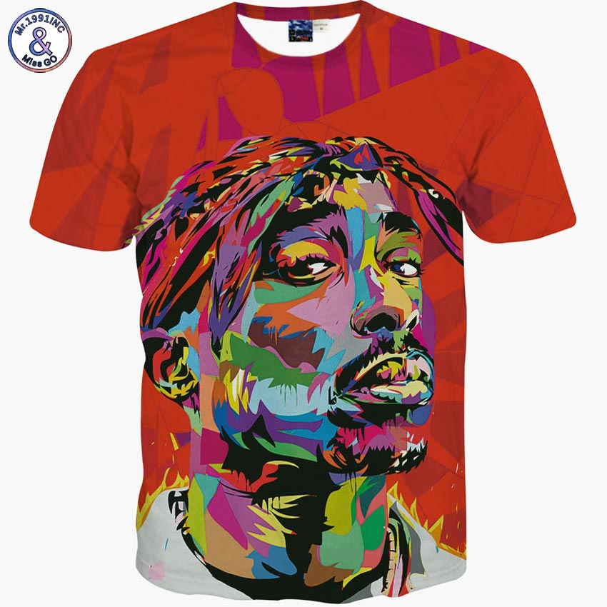 Mr.1991INC Hip Hop T-shirt men 2016 New brand fashion 3d t-shirt print rapper Tupac 2Pac summer tops tees slim t shirt