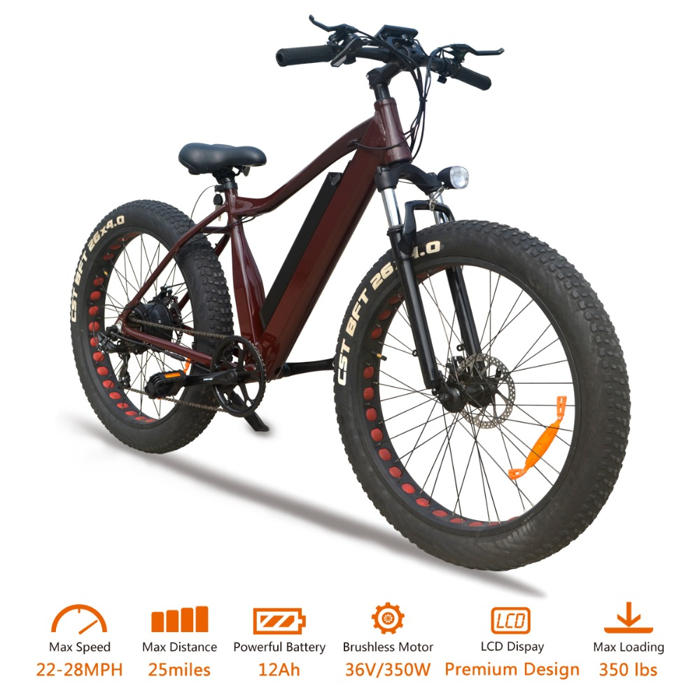 VTUVIA 26 inch Aluminum Alloy Frame 7 Speed Electric Bike 36V 350W LCD Display Electric bicycle with 12Ah Lithium Battery