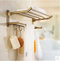 European Antique Bathroom Towel Rack Brass Finished Towel Rail/ Towel Bar Shelf Bathroom Accessories 5 Hooks Wall Mounted Ua29