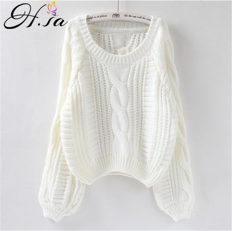 H SA Roupas femininas Women Pull Sweaters 2018 New Yellow Sweater Jumpers Candy Color Harajuku Chic