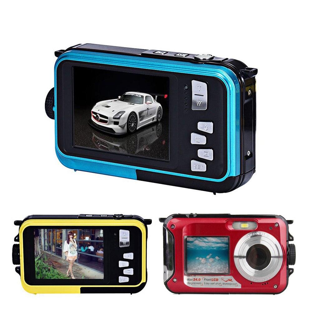 High Quality 2 7inch TFT Digital Camera Waterproof 24MP MAX 1080P Double Screen 16x Digital Zoom