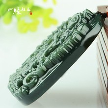 Natural HETIAN Nephrite Pendant Hand-Carved Thousand Hands Kwan-Yin Round Necklace Men's Fashion Jades Jewelry(China)
