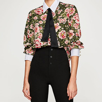 Free Lemons Elegant Ladies Autumn Flowers Printed Shirt Pearl Buttons Bow Tie Decorative Women Tops Long