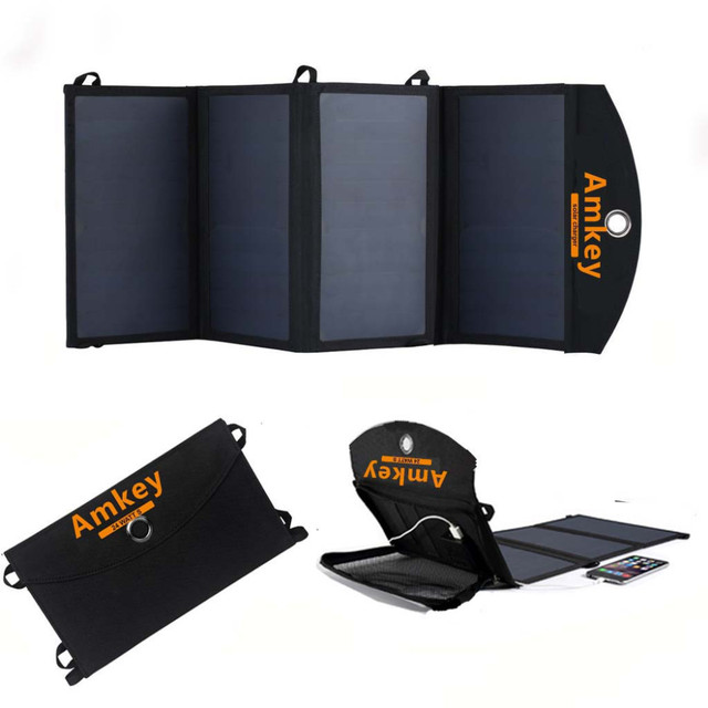 Anquilfe/Amkey 24W 5V Fast charge Sunpower High Efficiency Foldable Solar Charger for Smartphones and USB devices