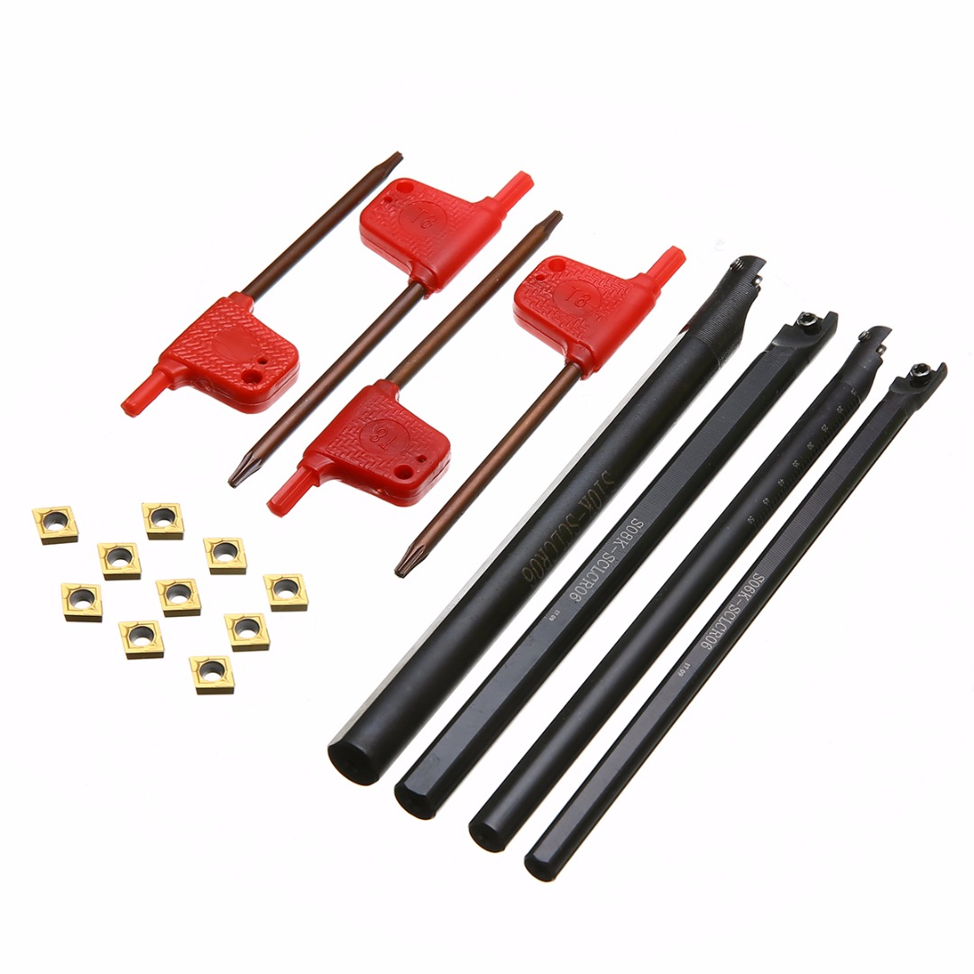 4pcs 6/7/8/10mm SCLCR06 Turning Tool Holder Boring Bar +10pcs CCMT060204 Carbide Inserts With Wrench 4pcs cnc lathe turning tool holder 6 7 8 10mm sclcr06 boring bar 10pcs ccmt060204 carbide inserts durable blades 4pcs wrench