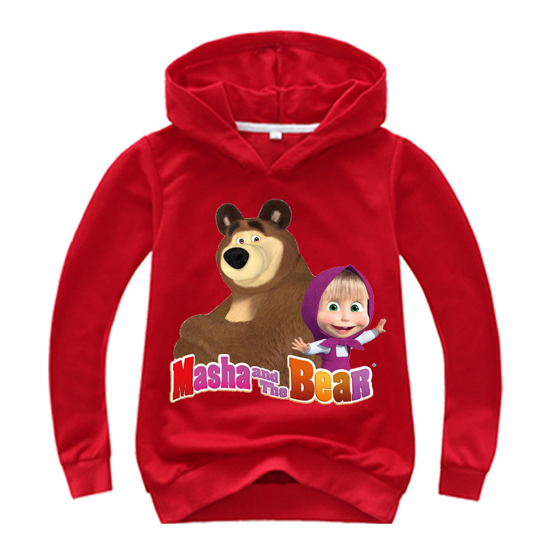2019 Spring Autumn Masha and The Bear Baby Hoodie Boys Sweatshirt Toddler Girl Christmas Costume Outfit Clothes