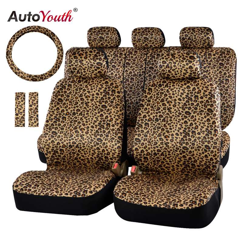 Luxury Leopard Print Car Seat Cover Universal Fit Seat Belt Pads and 15 Universal Steering Wheel