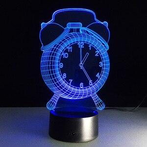 Акриловая 3d-лампа в форме будильника, USB, разноцветный RGB светодиодный настольный 3D ночник, атмосферная лампа в подарок