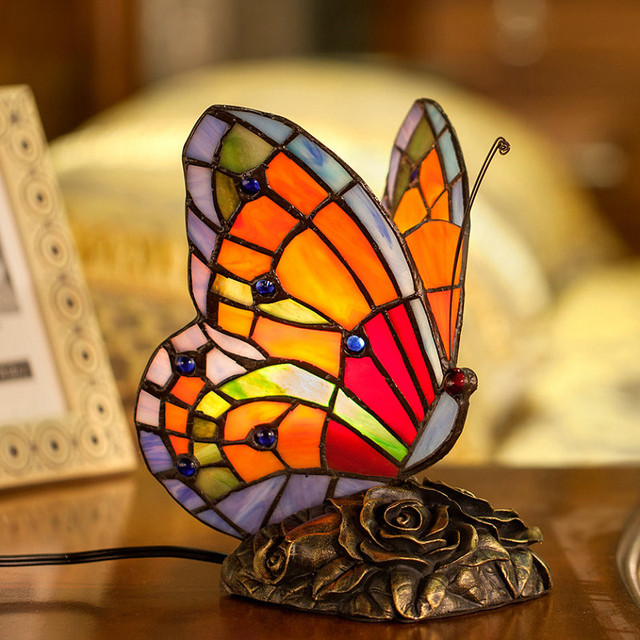 Butterfly Table Lamp Art Decor Stained Glass Lights For Living Room