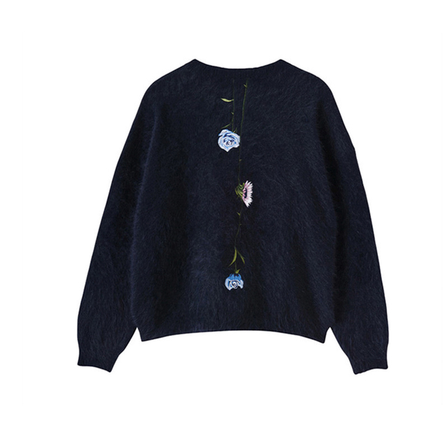 2017 Spring Winter Embroidered Flower Sweater Women Top Fashion Purple Blue Long  Sleeve Sweaters Femme Tops Female Clothing 3b3ae0b7b