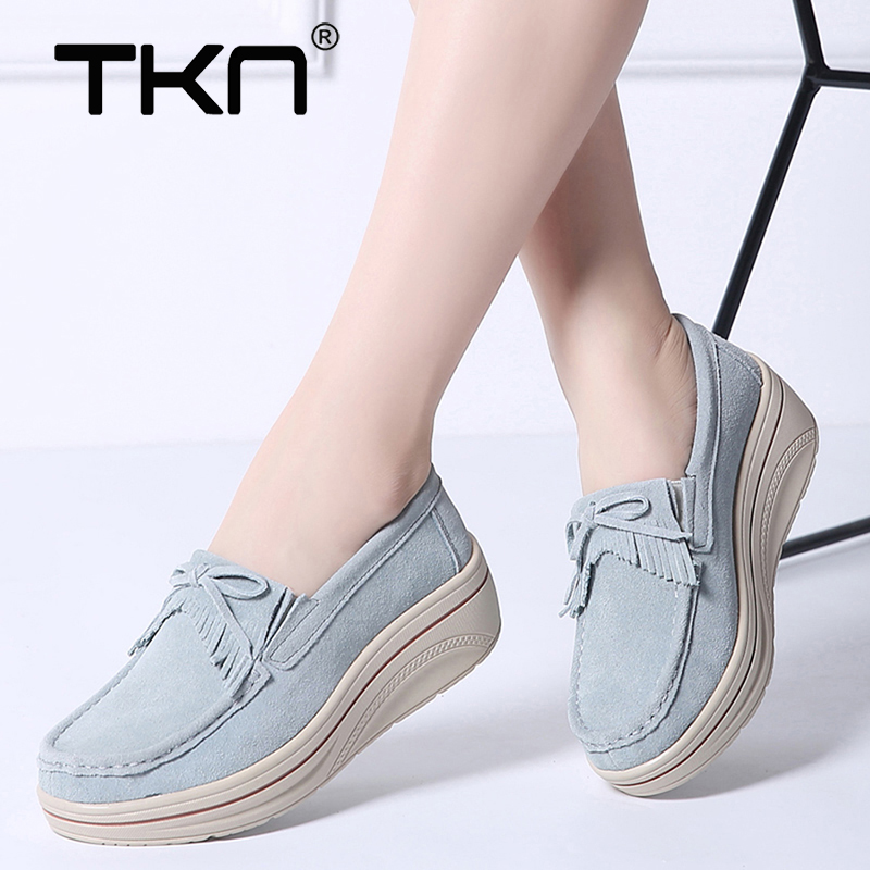 Women Winter Flats Tassel Platform Shoes Ladies   Leather     Suede   Casual Slip on Flats Chaussure Femme Creepers Footwear Shoes 3037