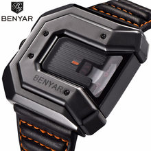 Top Elite Brand BENYAR Unique Design Leather Band Fashion Waterproof Quartz Watches Men's black Sports Wrist Watch hombre reloj(China)