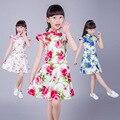 Crianças Infantil Menina Pétalas de Flores Crianças Vestido de Dama de Honra Elegante Qipao Vestido Pageant Vestido Infantil Tule Vestido Formal Do Partido