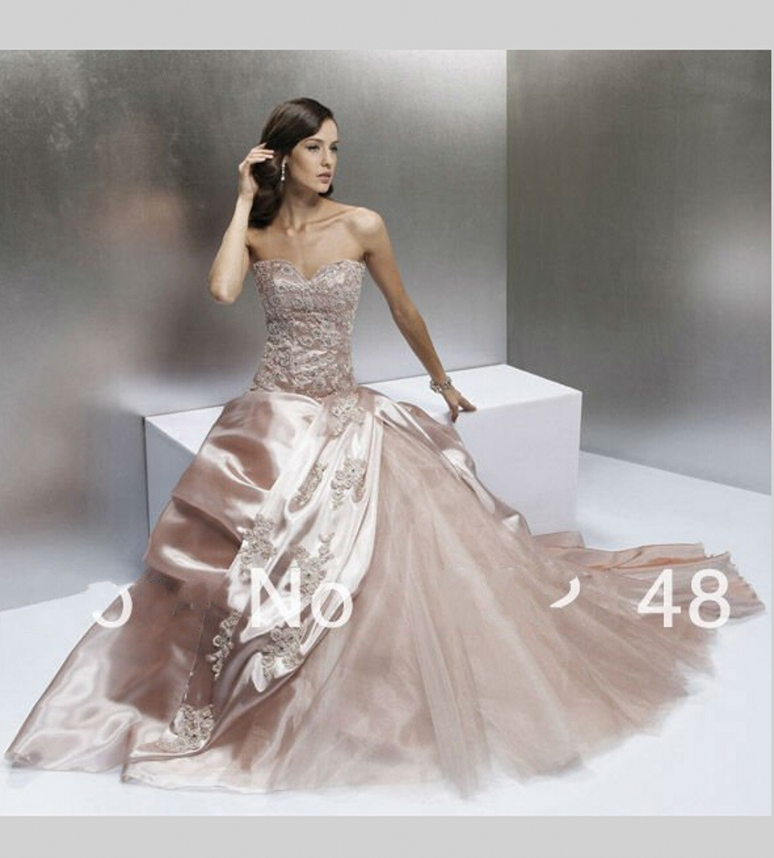 Champagne Lace Wedding Gown: Satin Champagne Lace Wedding Dress China Alibaba Country