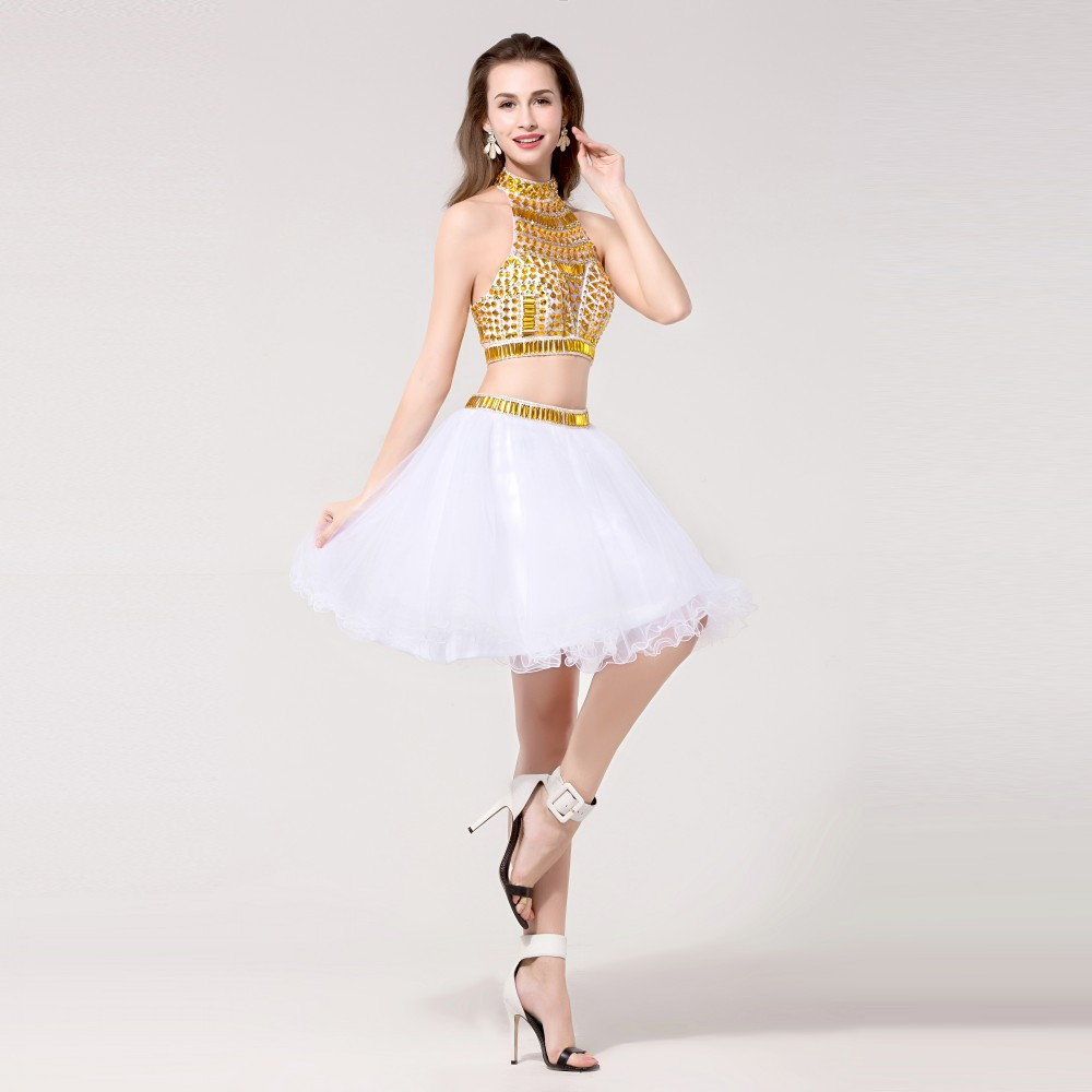 2015 Simple White Gold Short 2 Piece Fitted Homecoming Dresses
