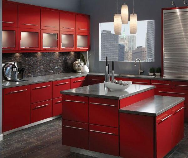Rojo oscuro fábrica de mueble de cocina en Gabinetes de cocina de ...