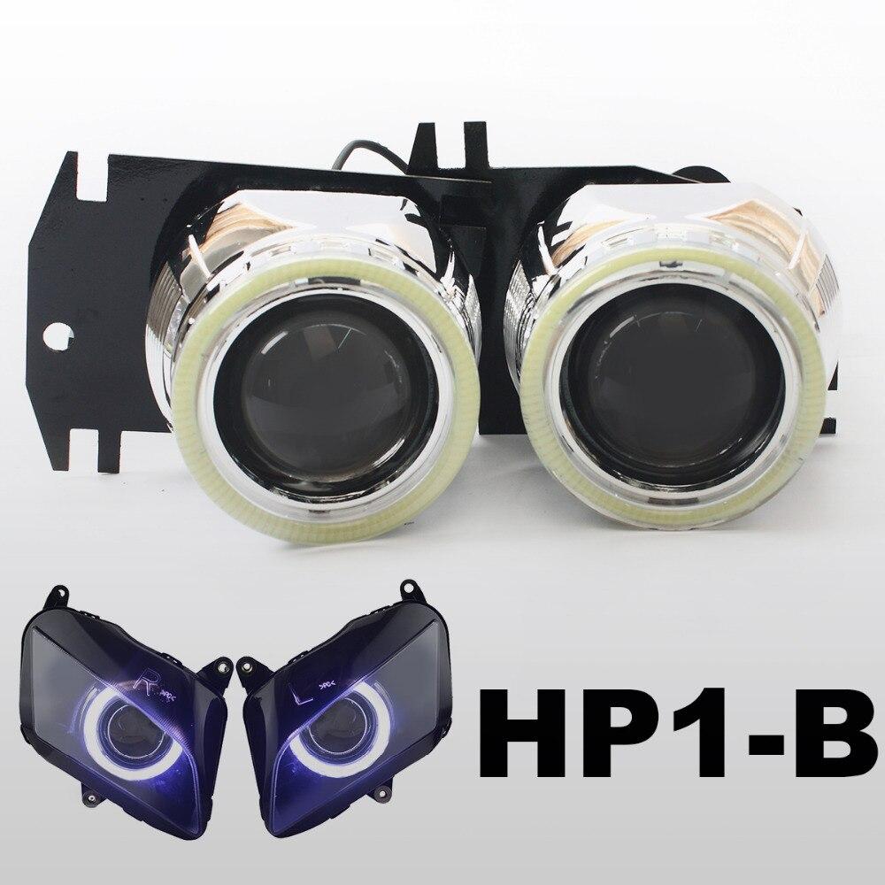 KT Headlight Suitable for Honda <font><b>CBR600RR</b></font> 2007-2012 <font><b>LED</b></font> Angel Eyes Motorcycle HID Bi-xenon Projector Lens 2008 2009 2010 2011