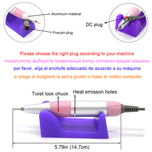 Image 3 - 35000RPM Nail Drill Handle Handpiece For Electric Nail Art Manicure + Pedicure Drill Machine Accessory Tool DC 3V DC 12V 1A