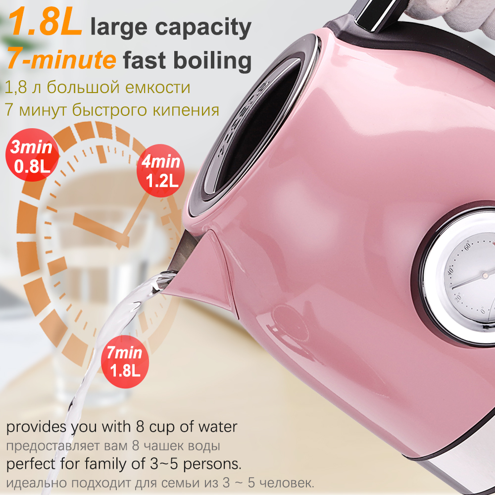 Image 2 - 1.8L 304 Stainless Steel Electric Kettle With Water Temperature Control Meter Household Quick Heating Electric Tea Pot Sonifer-in Electric Kettles from Home Appliances