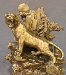 Escultura de estatua de tigre de 13 pulgadas feng shui chino latón sol montaña bosque rey