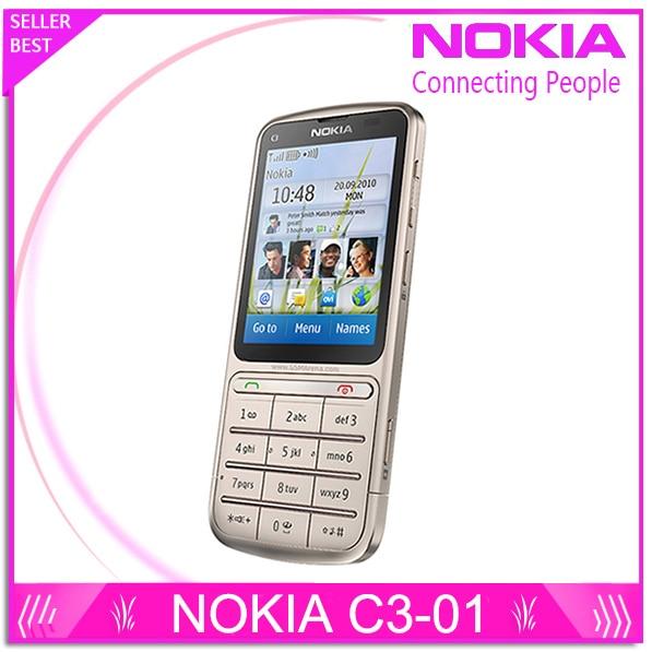 "Nokia c3-01 desbloqueado symbian s40 3g wifi 5mp cmos java sns bluetooth 2.4 ""tft pantalla táctil del teléfono móvil reformado"