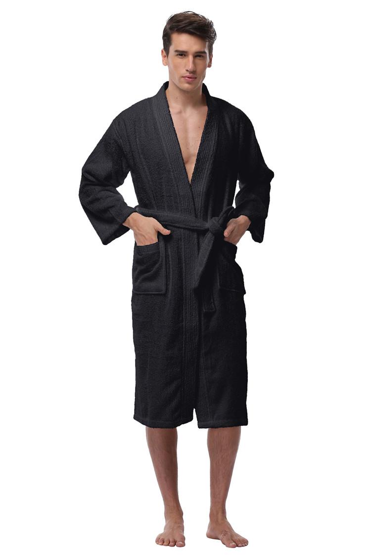 5cdd307139 Men `s Kimono Bathrobe Turkish Cotton Robes Plus Size Lightweight Long Robe  For Men Absorption After Shower Bathrobe Sleepwear